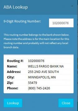 Routing Number Lookup